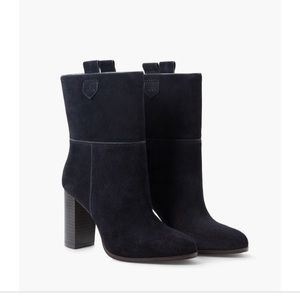 NWT Mango MNG Blue Heel Leather Ankle Boot Size 7